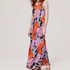 LOFT Purple and Orange Floral Maxi Dress